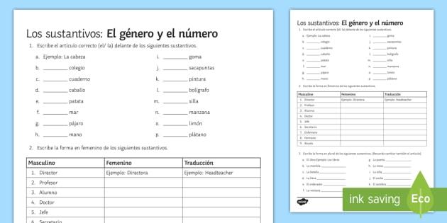 Nouns Gender And Number Worksheet   Worksheet