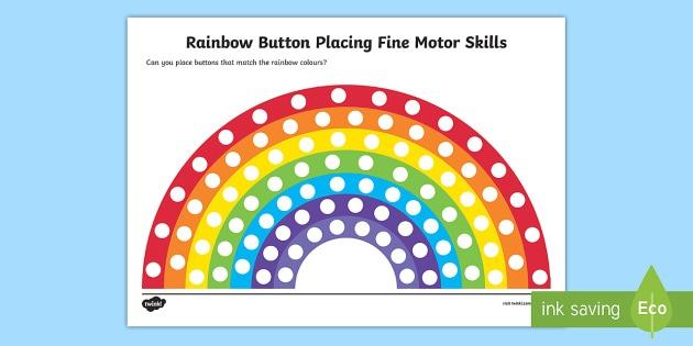 Rainbow Button Placing Fine Motor Skills Worksheet   Worksheet