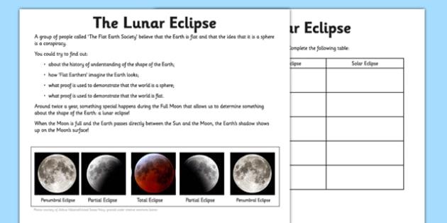 Lunar Eclipse Worksheet