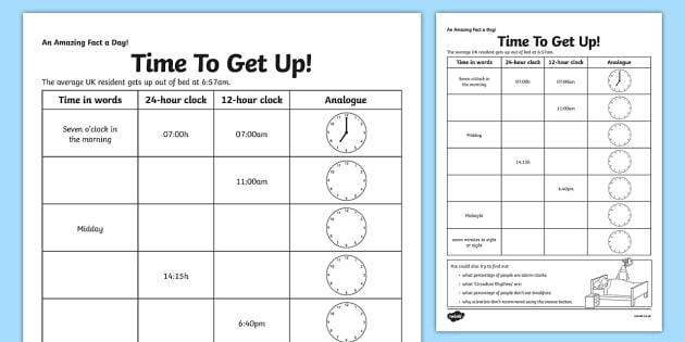Time To Get Up Worksheet   Worksheet