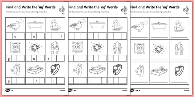 Find And Write The Ng Words Differentiated Worksheet Pack