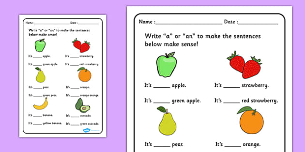 A Or An Worksheet Fruit