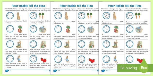 Ks1 Peter Rabbit Tell The Time Worksheets
