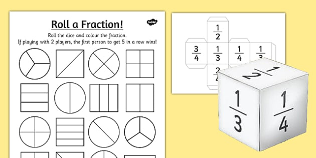Year 2 Roll A Fraction Worksheet
