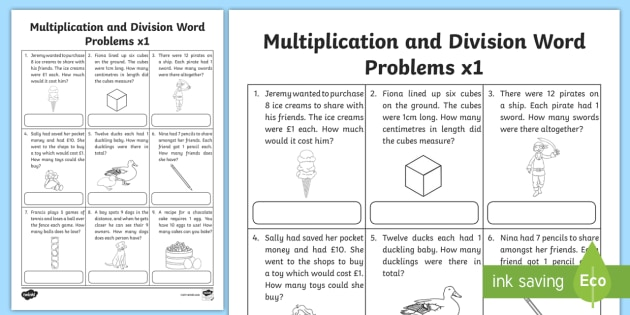 Multiplication And Division Word Problems X1 Worksheet   Worksheet