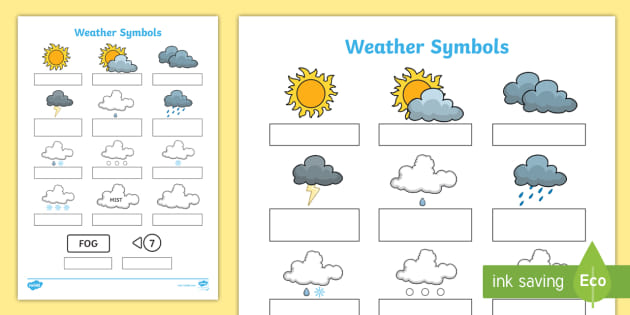 Weather Symbols Worksheet
