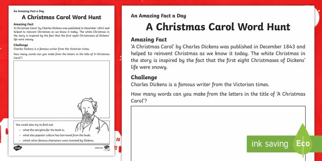A Christmas Carol Word Hunt Worksheet   Worksheet