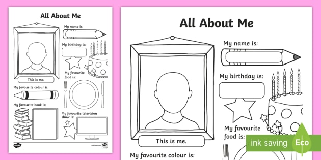 All About Me Worksheet   Worksheet