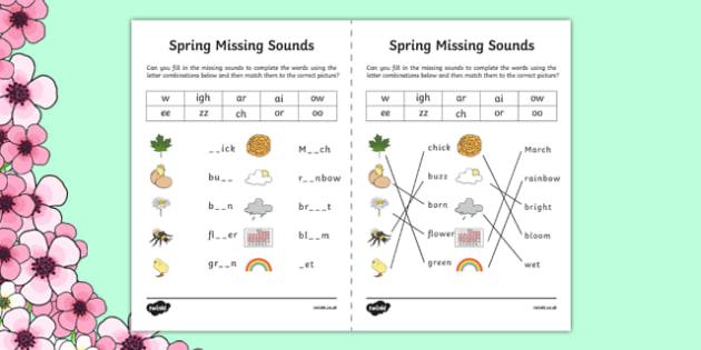 Spring Missing Sounds Worksheet