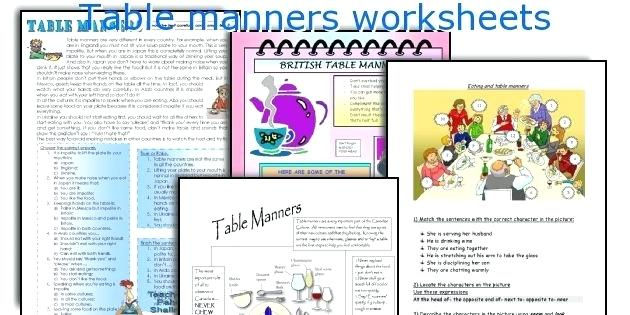 Teaching Manners Worksheets Table Manners Worksheets Teaching