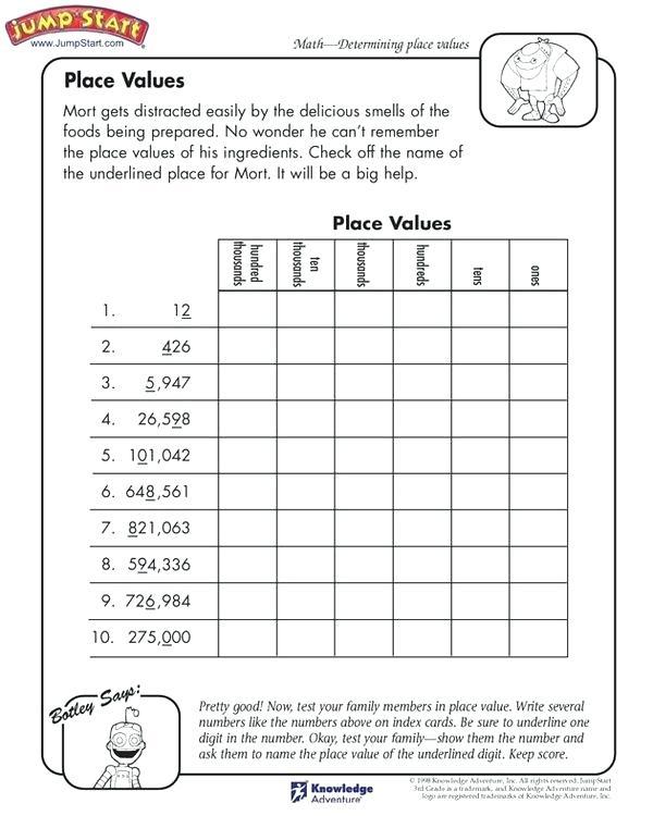 Third Grade Math Place Value Worksheets Place Values Grade Math