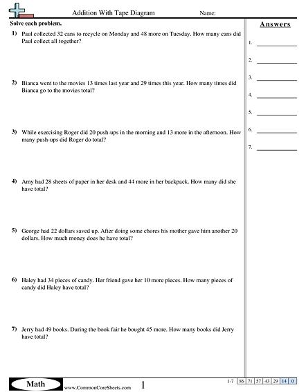 Tape Diagram Worksheets