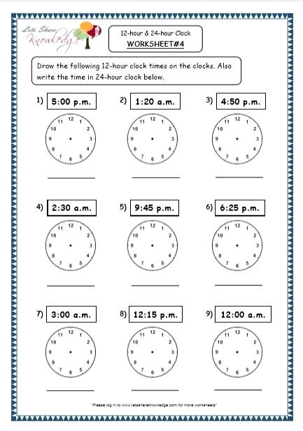 24 Hours Clock Worksheets – Openlayers Co