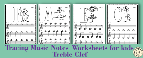 Tracing Music Notes Worksheets For Kids {treble Clef}   Anastasiya