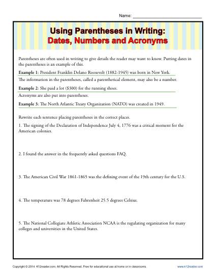 Using Parentheses In Writing  Dates, Numbers And Acronyms