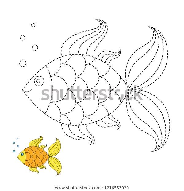 Vector Drawing Worksheet Preschool Kids Easy Stock Vector (royalty
