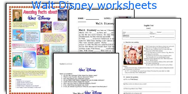 Walt Disney Worksheets