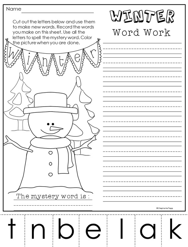 Winter Phonics Worksheets  Making Words