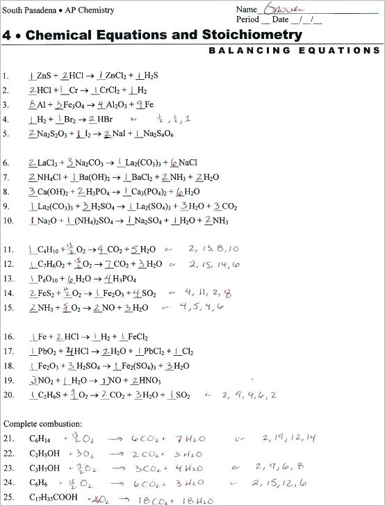 Balancing Chemical Equations Problems With Answers – Randomtutorz Co