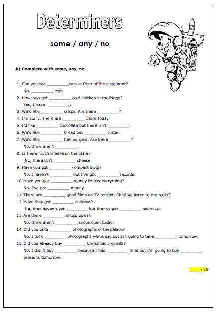 87 English Worksheet Determiners
