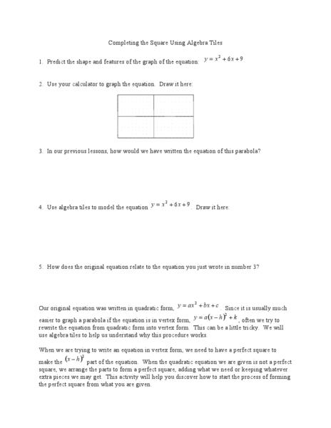 Completing The Square Using Algebra Tiles Worksheet