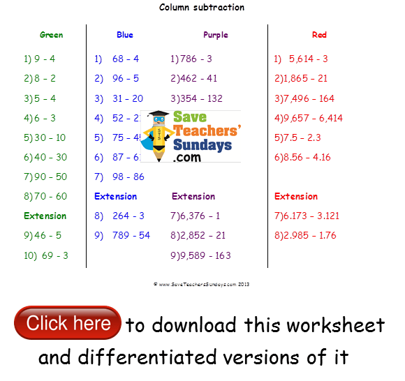 Expanded Column Subtraction Lesson Plans, Worksheets And Other