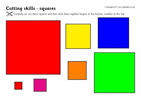Cutting Skills Worksheets – Shapes And Size Ordering (sb4910
