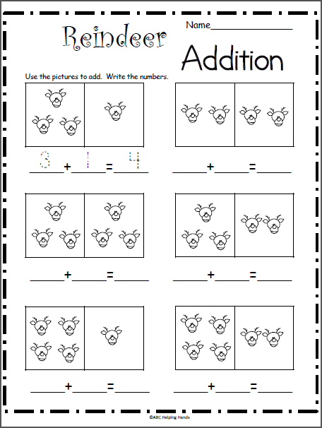 Reindeer Addition Math Worksheet