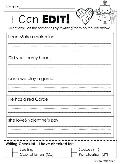 1st Grade English Worksheets Valentine S Day Math Worksheets First