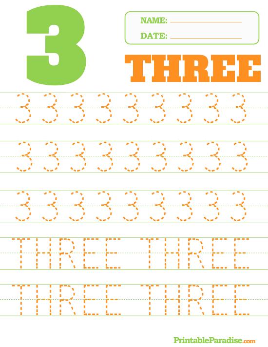Printable Number 3 Tracing Worksheet