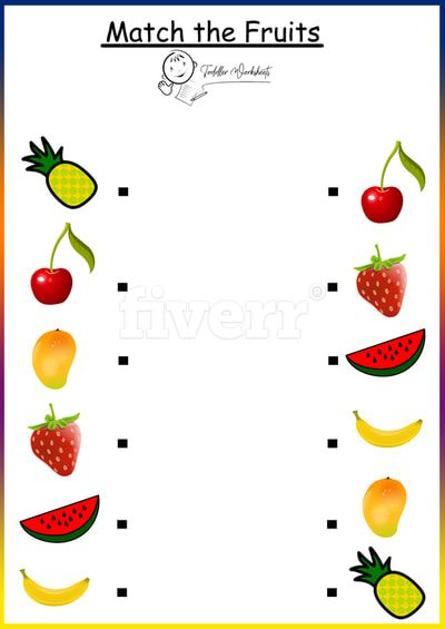 Match Fruits Worksheets Toddlers