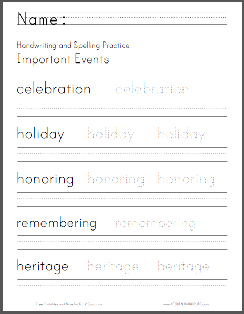 Important Events Handwriting And Spelling Worksheet