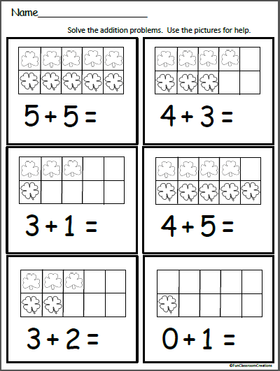 Clover Ten Frame Addition Worksheet