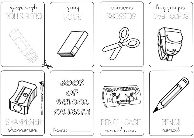 School Objects Coloring Page Classroom English Obj On Number Names