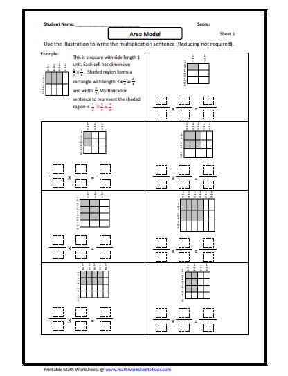 Fraction Multiplication  Area Model