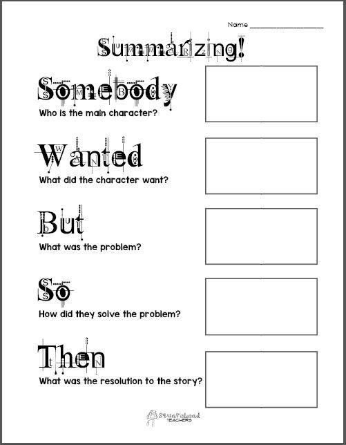 Free Printable  Summarizing Graphic Organizers (grades 2