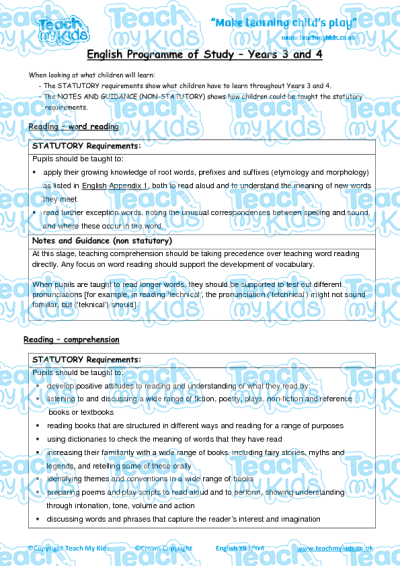 Year 3 4 English National Curriculum Objectives