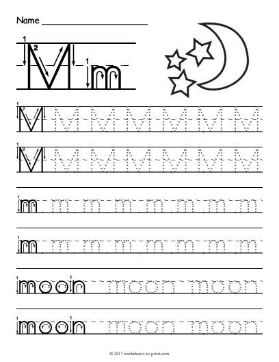 Free Printable Tracing Letter M Worksheet  Signlanguage