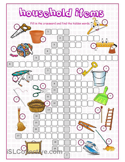 Household Items Crossword Puzzle Worksheet