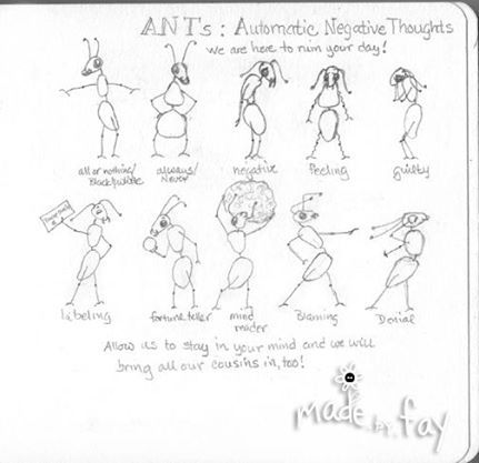 Sketch Of What I Think Ants (automatic Negative Thoughts) May Look