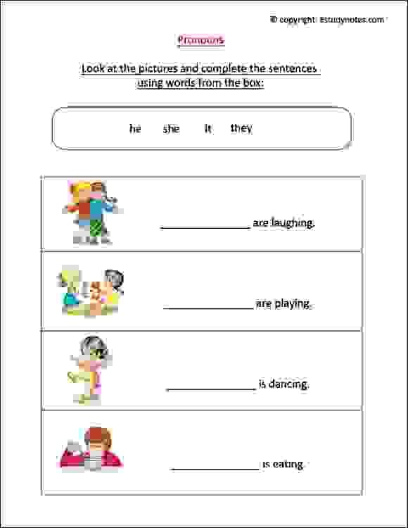 English Worksheet To Practice Pronouns, Ideal For Grade 1 Kids