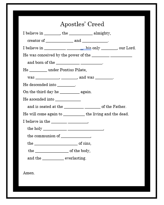 Apostles' Creed Prayer Worksheet