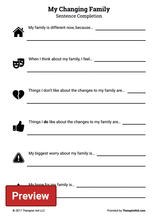 My Changing Family  Sentence Completion (worksheet