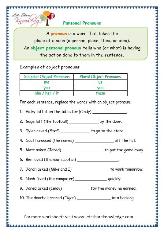 Page 6 Personal Pronouns Worksheet
