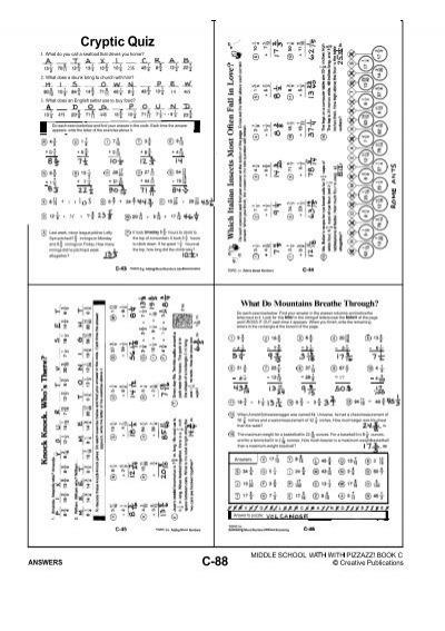 Algebra With Pizzazz Answer Key Page 41 Cryptic Quiz