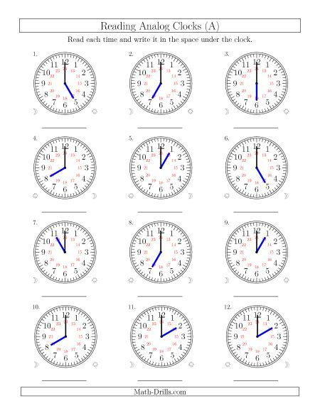 Reading 24 Hour Time In One Hour Intervals (12 Clocks)