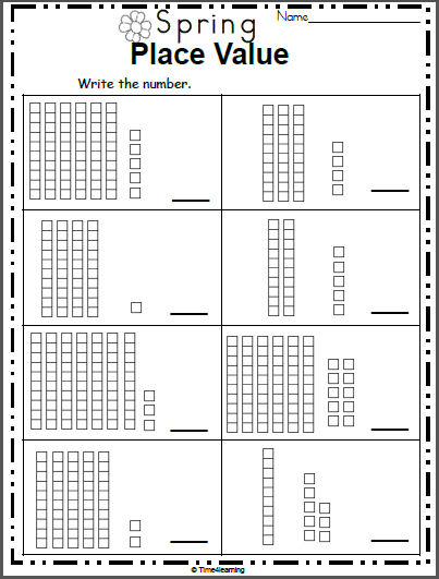 Spring Place Value Worksheet