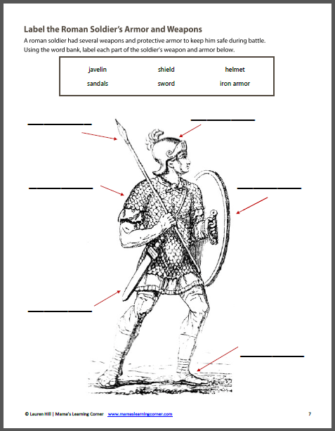 Ancient Rome Worksheet Packet For 1st