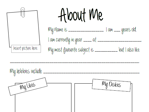 About Me  Get To Know Your Students (worksheet) By