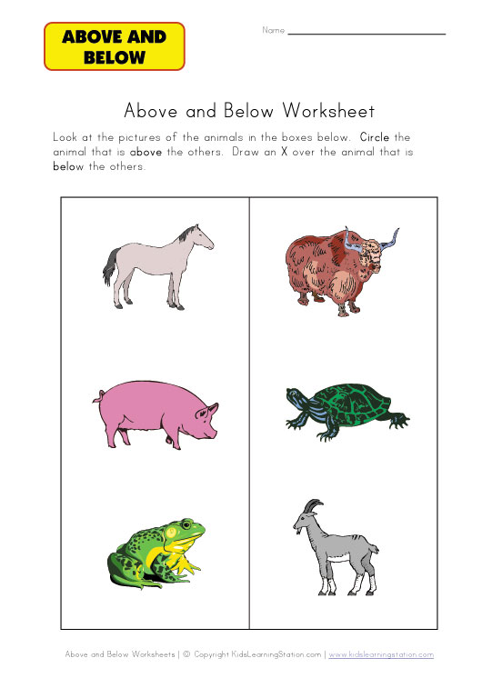 Kindergarten Worksheets Above And Below